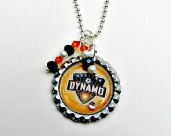 Houston Dynamos Soccer Necklace, Houston Dynamo Jewelry, Soccer Jewelry, Soccer Necklace, Sports Jewelry, Houston Dynamo Accessories, Soccer