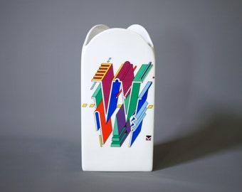 ROSENTHAL Vase, Morandini Happiness Vase, Letter 'W', Designed for Welser 1989, Made in Germany, Memphis Look, Memphis Inspired Vase, Swiss