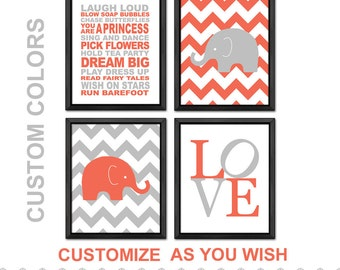 elephant baby girl decor, girls rule nursery, chevron elephant nursery wall art, elephant baby room wall art, elephant girls room prints