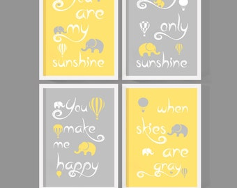 you are my sunshine baby, hot air balloon nursery, sunshine nursery room decor, nursery song print, you are my sunshine elephant, baby gift