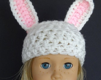 """Handmade for 18"""" American Girl Dolls , Bitty Baby & Bitty Twins  spring Easter Beanie Bunny Hat White and Pink"""