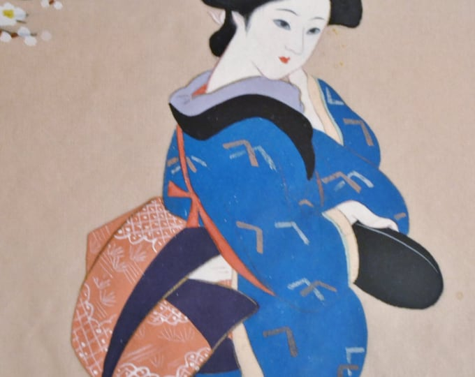 Vintage Japanese Geisha Painting on Silk Framed Asian Art Signed Chinoiserie Panchosporch