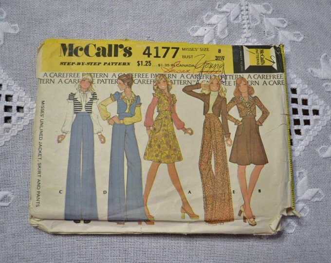 McCalls Sewing Pattern 4177 Misses Unlined Jacket Skirt Pants Vest Size 8 Fashion Clothing DIY  PanchosPorch