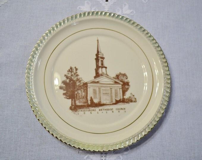 Vintage Decorative Plate Streetsboro Methodist Church Centennial Collectible Wall Decor  Panchosporch