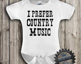 Country Baby Clothes, Baby bodysuit, I prefer country music,Southern baby,Country baby,Baby clothes,cute baby clothes-Blue Fox Apparel-305