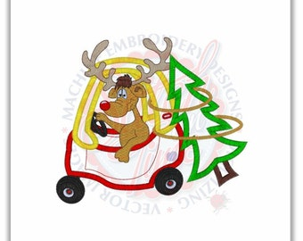 SAMPLE SALE, Christmas Tree car Applique Shirt, boys christmas shirt, reindeer boys chirstmas shirt