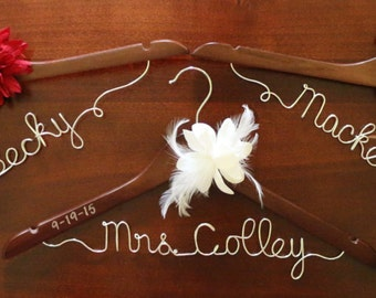 Personalized Wedding Dress Hanger with Date Stamp