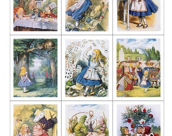 Fabric Panels x 9; Alice in Wonderland, Vintage, Quilting, 100% cotton, Applique, Craft