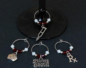 Nurse (RN)-(LPN) Theme Wine Charms-NEW-Set of 4-NURSE004-4