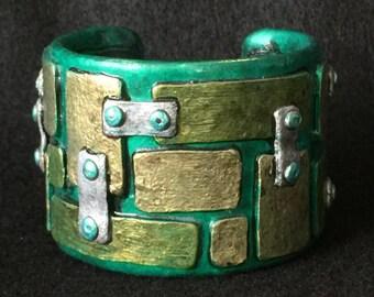 Cuff Bracelet Bangle Boho Polymer Clay Mid Century Modern Jewelry LINKED by Donna Pellegata ArtCirque