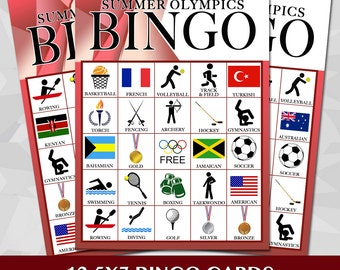 Olympic Party Bingo Cards
