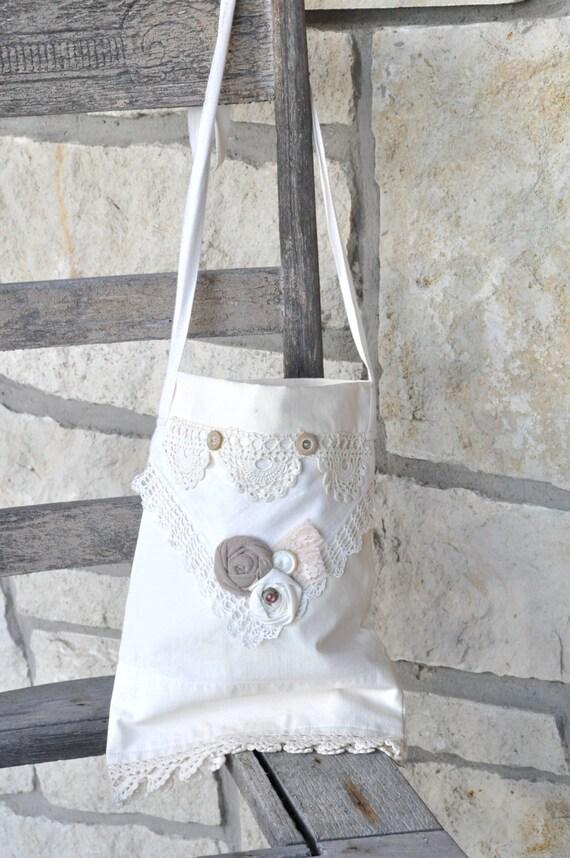 Shabby Chic Purse Repurposed Pillowcase Cross Body Summer