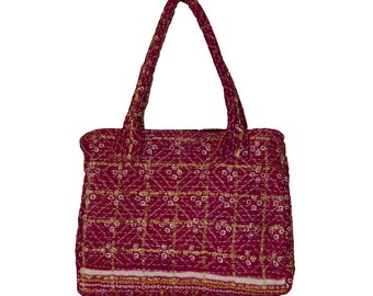 KANTHA Bag - Medium - Burgundy with off white and gold