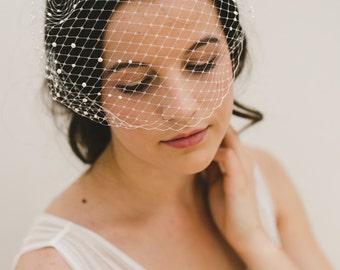 pearl birdcage veil, bandeau veil, birdcage veil, pearl veil, short veil, french veil, bandeau birdcage, wedding veil  - MARISOL