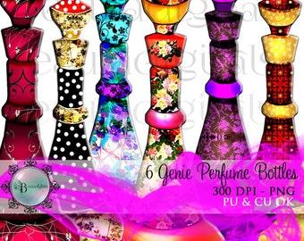 6 Perfume Genie Perfume Bottles - Jeanie Bottles in PNG Format PU & CU  - Instant download zip file