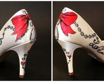 FOREVER LOVE - Bridal Hand Painted Shoe Decoration, Bows and Peals, Custom Words, Hand Drawn Bespoke Shoes