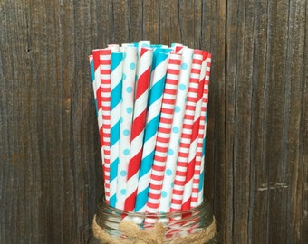 100 Red and Blue Striped and Polka Dot Paper Straws- Dr. Seuss Theme , Birthday or Baby Shower Supply
