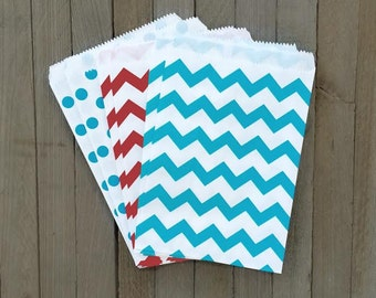 48 Red, White, Sky Blue Favor Bags--Chevron and Polka Dot Treat Bags--Candy Party Sacks--Goodie Bags--Dr. Seuss Theme Party Favor Sacks
