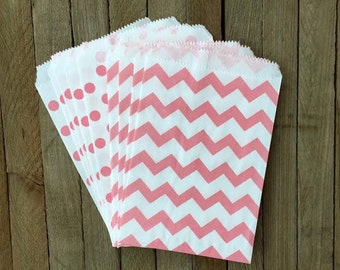 48 Pink Favor Bags--Chevron and Polka Dot  Favor Bag--Candy Favor Bag- Goodie Bags--Chevron Party Sack--Birthday Treat Sacks