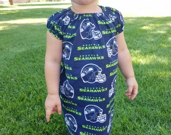 Seahawks or Any NFL Baby Toddler Peasant Dress, Football baby girl fan outfit, NFL Football baby girl, Football toddler girl outfit