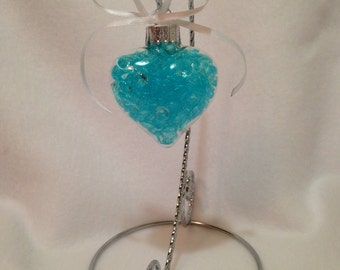 Heart Ornament -  Gifts Under 20 - Glass Heart - Wedding Ornament - Anniversary Gift - Turquoise - Wedding Gifts For Couple - Heart Decor