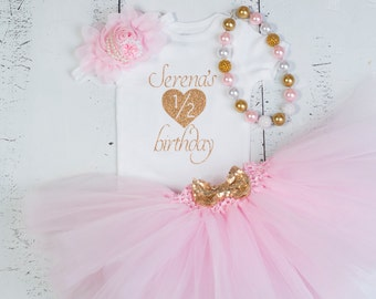 HALF BIRTHDAY Outfit, 1/2 Birthday Outfit, Pink Gold Girls Outfit, Baby Girl Half Birthday Outfit, Cake Smash Outfit, Gold Birthday