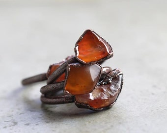 Carnelian Ring Electroformed Copper Ring Stone Ring Natural Orange Stone Delicate Ring