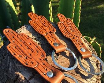 Cactus Keychain/ Leather Cactus Keychain/ Cactus Accessories/ Holiday Gift/ Gifts For Her/ Stocking Stuffer/ Joshua Tree/ Desert Keychain