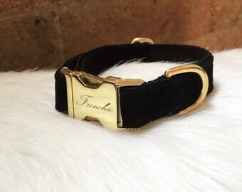 "Adjustable dog collar ""Black Velvet"""