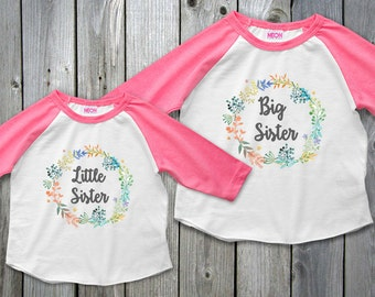 Big Sister Little Sister Outfits, Water Color Floral Flower Sister Shirts, Big Sister Little Sister Set, Raglan Girls Shirts