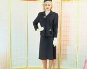 Stunning Vintage 1940's Pinstripe Suit . Midnight Blue Black . Rhinestone Accents . Women's Large . WS Butler Company Creation label .Svelte