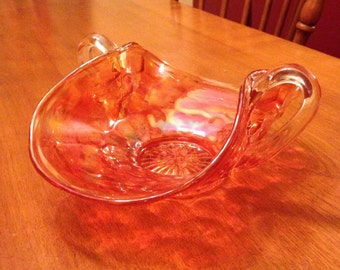 Pretty Vintage Carnival Glass Serving or Candy Dish