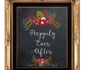 printable wedding sign, digital wedding sign, happily ever after sign, burgundy floral wedding sign, chalkboard wedding sign, 8 x 10