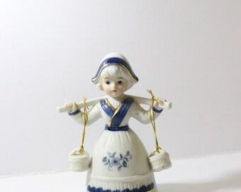 Dutch Girl Bell Porcelain Holland / Woman Figurine / Girl Carrying Water Buckets External Clapper Bell