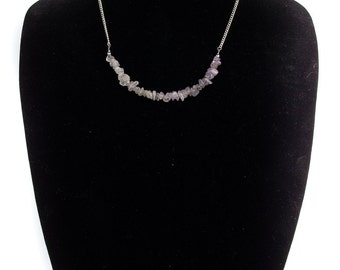Ombre Clear Crystal Pale Amethyst Wire Silver Chain Necklace