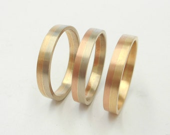 Two tone 3 MM.Wide 14 K. Solid Gold Wedding Band Yellow,White & Rose(Pink)