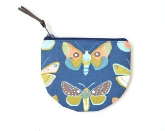 Butterfly Purse, Mother's Day Gift for Mom, Blue Coin Purse, Small Card Wallet Zipper Pouch, Butterfly Gift for Gardener, Earbud Pouch