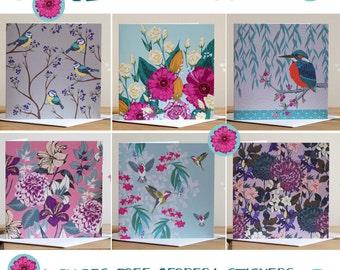 Set of 6 Greeting Cards Birds Floral, Blank, UK Shop, Kayleigh Jayne Design