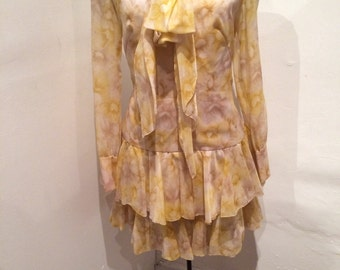 YVES ST LAURENT inspired Silk Chiffon dress
