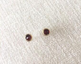 14k gold filled Victorian Bohemian garnet stud earrings