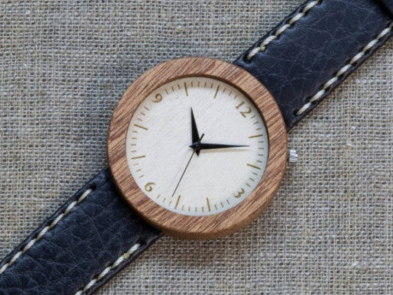 African Sapele minimal wood watch , Majestic Watch,  Black and White  Genuine Leather strap + Any Engraving / Gift Box. Anniversary  gift