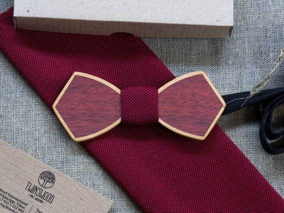 Double Wood bowtie  + cherry pocket square Any personal engraving wooden bow ties. Men Accessories. 100% hand made. Best xmas / bday gift.