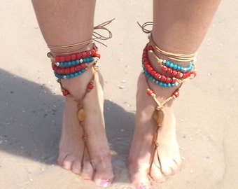 Leather Beaded Barefoot Sandals, Slave Sandals