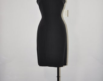 90s black silk dress / sleeveless sheath dress / minimalist fitted dress