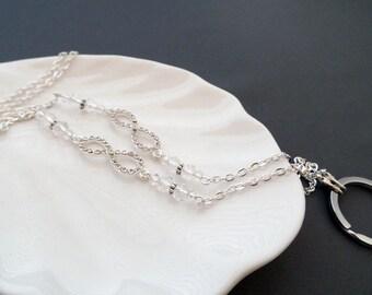 Silver Crystal Lanyard - Infinity Badge Holder - Eyeglasses Chain - Eyeglasses Holder - Eyeglasses Leash