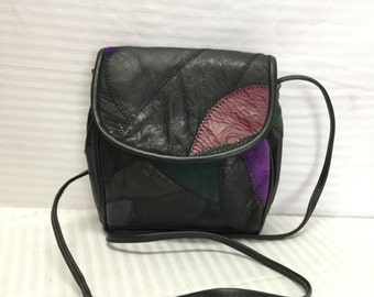 Bags Purses, Patchwork, Leather, Shoulder Bag, Black, Green, Purple, Free shipping