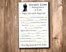 Silhouette Wedding Mad Lib Guest Libs Wedding Game Printable - Bride Groom Silhouette Wedding Guestbook Alternative Printable Wedding Party