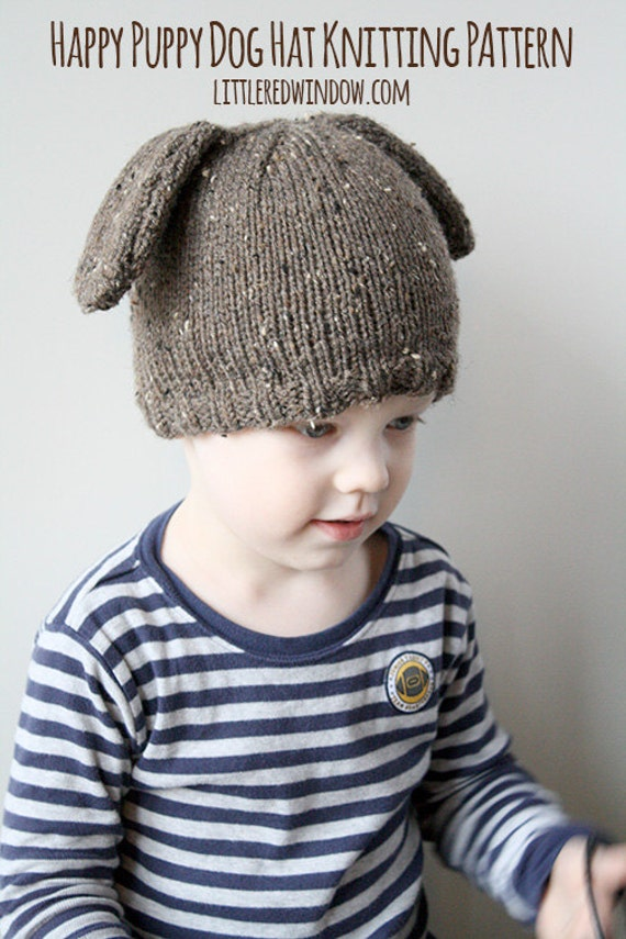 Knitting Pattern Hat Dog : Puppy Dog Hat KNITTING PATTERN knit hat pattern for babies