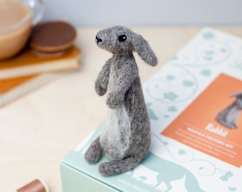 Rabbit Needle Felting Kit - Rabbit Craft Kit - craft kit gift - felt rabbit project - rabbit craft kit for adults - needle felting kit