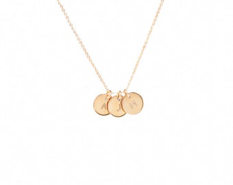 3/8 inch Gold Triple Charm Necklace